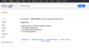"SERP for the keyword ""online casino"" if Google banned websites that buy links"